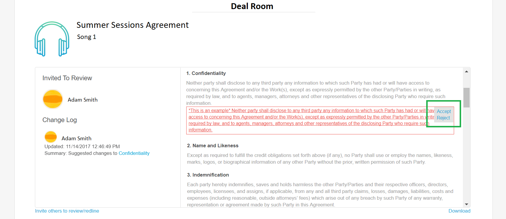 How Do I Accept A Change To The Text Of The Agreement Redline